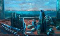 other story of the blue I, 2004, oil on canvas, 90x150