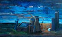 other story of the blue II, 2004, oil on canvas, 90x150