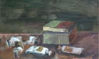 still life with a green box, 2004, oil on canvas, 40x50