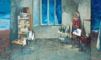 a story of the blue I, 2002, oill on canvas, 115x300
