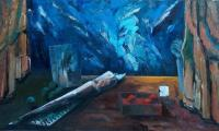 other story of the blue III, 2004, oil on canvas, 90x150