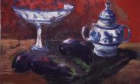 still life witch eggplants, 1998, oil on canvas, 40x50