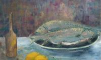 still life with fish, 1996, oil on canvas, 40x50